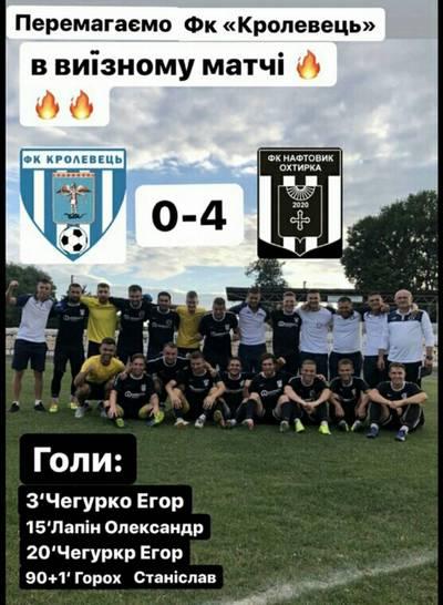 У восьмому турі І кола Чемпіонату Сумської області з футболу 2020 року команда ФК «Нафтовик-Охтирка» на виїзді зіграла з командою ФК «Кролевець»