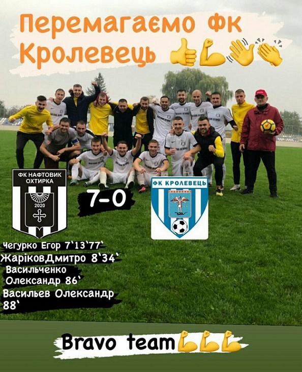 Перемога команди ФК «Нафтовик–Охтирка»